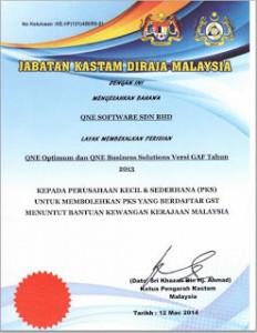 QnE Accounting Software approved by Jabatan Kastam Diraja Malaysia